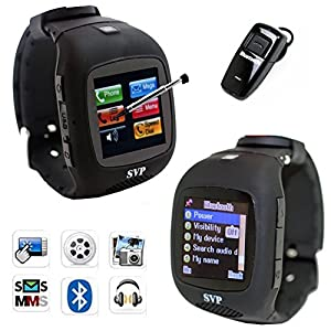 Unlocked Cell Phone Smart Watch With Pedometer / Speed / Distance / Kcal Black Camera GSM Quad band Watch Phone bluetooth bracelet By SVP (Black)