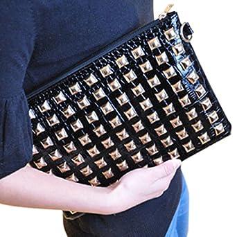 Tide Fashion Women Retro Rivet Clutch Bag Shoulder Bag Envelope Bag Handbag Tote