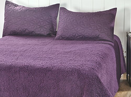 DaDa Bedding Eggplant Aubergine Reversible Soft Stiched Print Sherpa Backside Textured Quilted