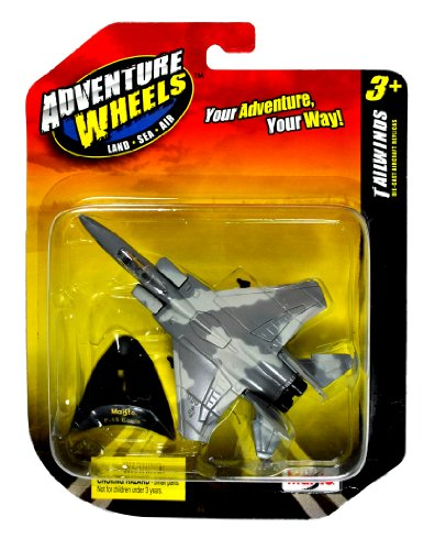 Imagen de Ruedas Maisto Adventure Land-Sea-Air Series vientos de cola 1:136 Die Cast Escala United States Military Aircraft Replica - EE.UU. Tactical Fighter Jet F-15 EAGLE con soporte de exhibición (Dimensiones: 3-1/4