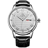 BINGER Mens Dress Watch Day Date Analog With Roman Numeral Black And Calfskin Leather Strap 37M-2A