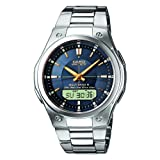 Casio Men's Quartz Watch with Blue Dial Analogue - Digital Display and Silver Stainless Steel Bracelet WVA-M490D-2AERby Casio