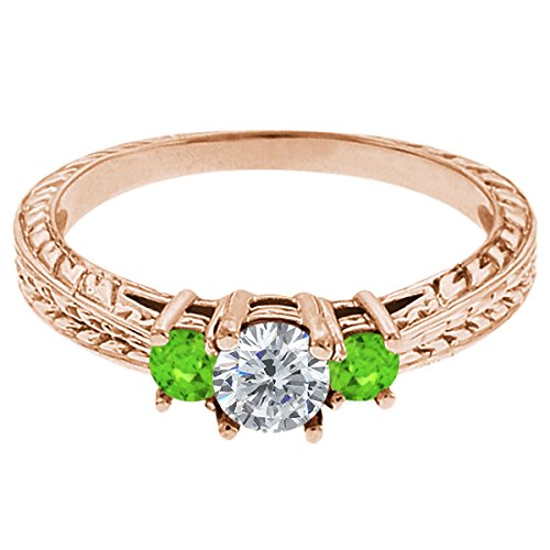 0.56 Ct Round G/H Diamond Green Sapphire 18K Rose Gold 3-Stone Ring
