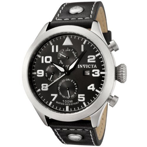 Invicta Men&#8217;s 0350 II Collection Black Leather Watch