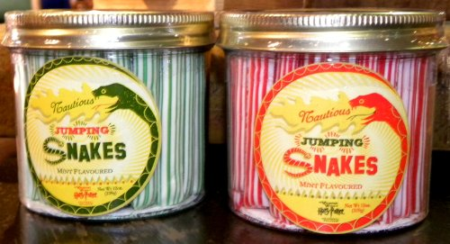 Universal Studios Wizarding World of Harry Potter Park Honeydukes Emporium Peppermint Jumping Mint Snakes Set of 2 Red & Green Collectible Glass Jar NEW 12 Oz. Each