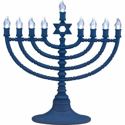 "11"" Battery Operated Lighted Led Blue Star Of David Chanukah Hanukkah Menorah"