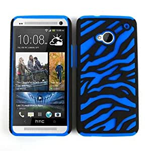 Cell Armor Hybrid Novelty Case for HTC One - Retail Packaging - Blue Zebra on Black
