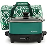 West Bend 84915G Versatility Slow Cooker with Insulated Tote and Transport Lid, 5-Quart, Green