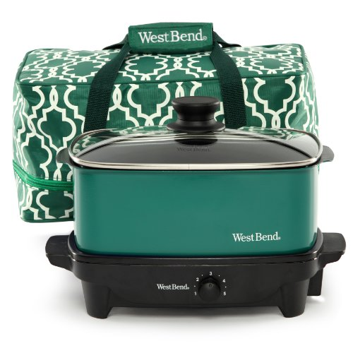 West Bend 84915G Versatility Slow Cooker With Insulated Tote And Transport Lid, 5-Quart, Green back-239885