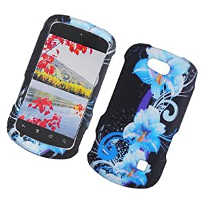Eagle Cell PIZTEX501G2D169 Stylish Hard Snap-On Protective Case for ZTE Groove X501 - Retail Packaging - Four Blue Flowers