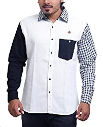 PP Shirts Men Cotton Casual Shirts ( White XL )