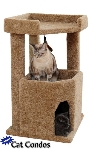 Corner Roost Cat Condo - Brown