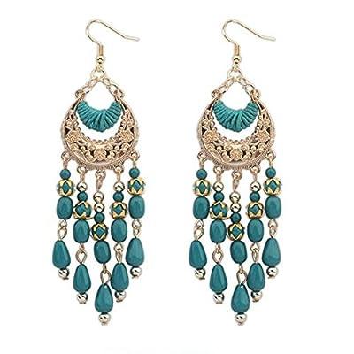 Leiothrix 2016 Hot Chic Fashion Bohemia Carving Tassel Earrings for Women, Fashion Dangle for Girl. (Green)