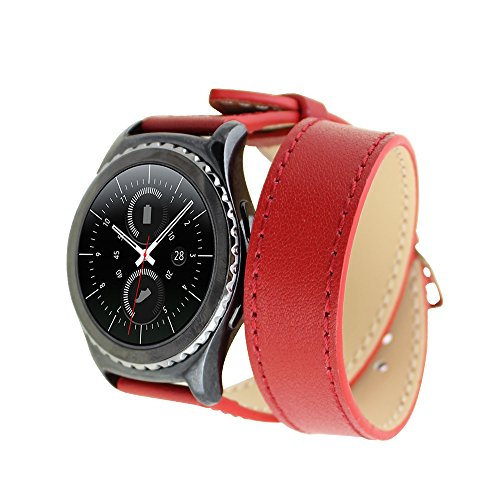 Samsung Gear S2 Classic Cinturino,Generic Leather Double Tour Replacement WristCinturino Bracelet Strap with Steel Buckle for Samsung Gear S2 Classic