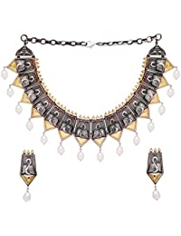 Jaipur Mart Oxidised Two Tone Gold & Silver Plated 140.00 Grams Gold & Silver Pearl Necklace And Earrings Set...
