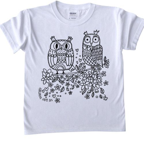 Owl Design T-Shirt for colouring in.