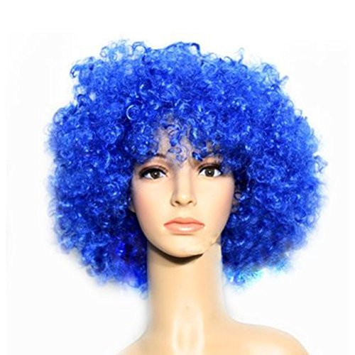 Party Cosplay Colorful Quirky Wig Periwig Wild-curl up Curly Clown Costumes, Blue