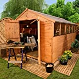 BillyOh 12' x 8' Lincoln Tongue And Groove Double Door Apex Wooden Garden Shed