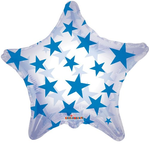 "22"""" Blue Pattern Star Clear View Balloon"