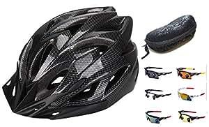 【IZUMIYA】超 軽量 自転車 用 ヘルメット 通勤 サイクリング 安心 安全カラー ヘルメット サングラス 付 (ブラック)