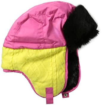 Pajar Women's Cable Knit Trapper Hat, Hot Pink, Small/Medium