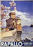 TX72 Vintage 1937 Italy Italian Rapallo Genoa Genova Travel Poster Re-Print - A4 (297 x 210mm) 11.7