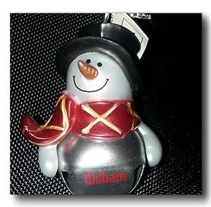 Silver Personalized Jingle Bell Snowman Ornament - William