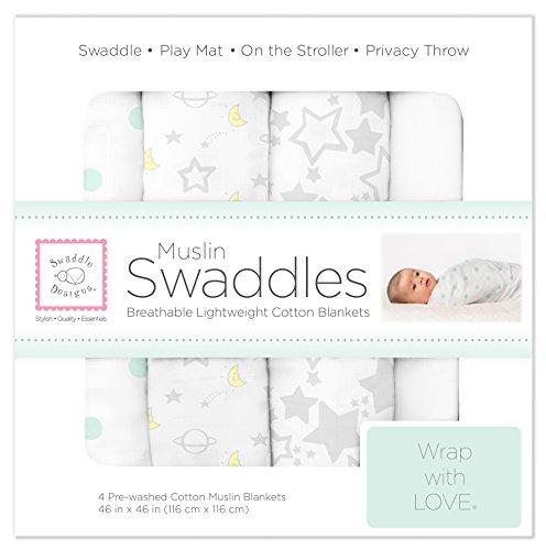 SwaddleDesigns Set of 4 Muslin Swaddle Blankets, Goodnight Starshine