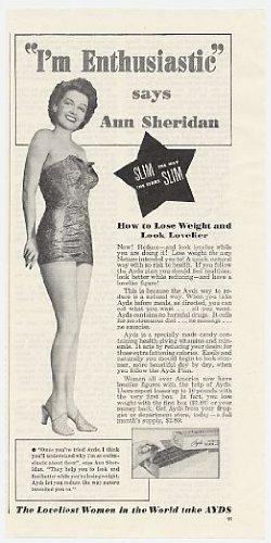 1950 Ann Sheridan Ayds Weight Loss Print Ad (3930)