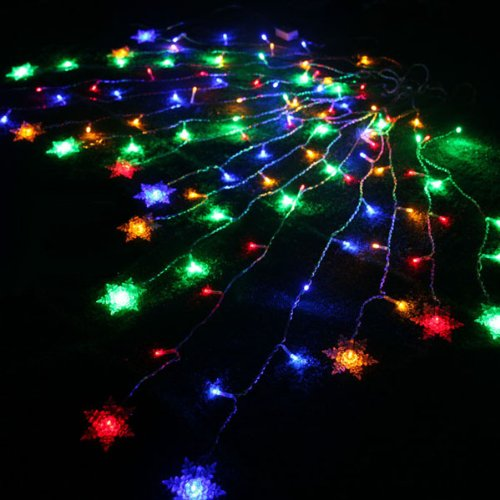 Fuloon® 8 Modes 2M*1M 104Pcs Led Snowflake Shape Led String Fairy Light Decorative Curtain Lighting For Garden Party Wedding Festival (Colorful)