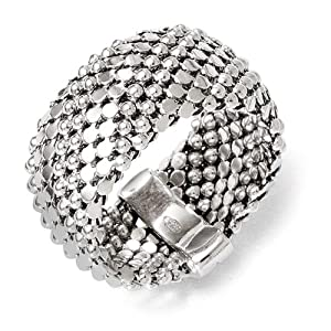 Sterling Silver Mesh Ring - Size P 1/2 - JewelryWeb