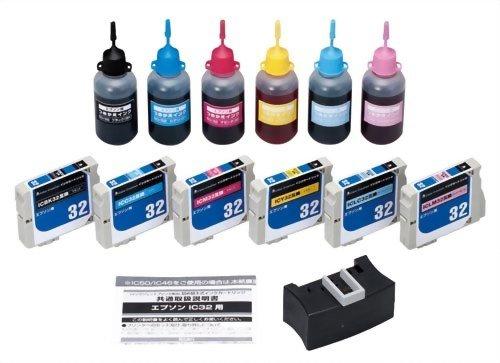 COLOR CREATION EPSON IC6CL32 互換インクカートリッジ+補充インクセット 6色パック(ブラック、シアン、マゼンタ、イエロー、ライトシアン、ライトマゼンタ) NRE-IC32-6PS