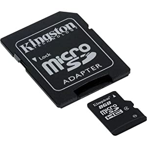 Samsung Intensity 3 Cell Phone Memory Card 8GB microSDHC Memory Card with SD Adapter from Kingston