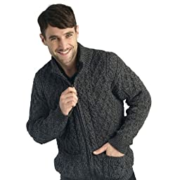 100% Soft Irish Merino Wool Full Zip Aran Sweater (Charcoal, Small)