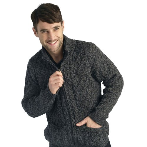 West End Knitwear Mens Merino Wool Full Zip Aran Sweater