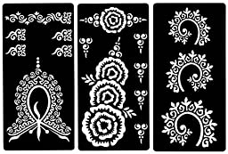 Zaffron Henna Mehendi Mehndi Stencil Sheets for Eid Ramadan Mehendi Raat or Wedding Parties (Design Pack 3, Set of 6 sheets)