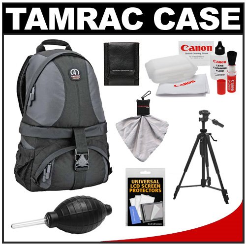 Tamrac 5547 Adventure 7 Digital SLR Backpack (Gray/Black) with Tripod + Canon Cleaning Kit for Canon EOS 70D, 6D, 5D Mark III, Rebel T3, T5i, SL1
