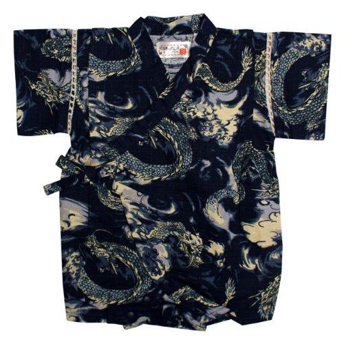 甚平 ロンパース ベビー 男の子 綿100% 日本製生地 龍 和柄 じんべい ロンパース 甚平 ネイビー 80cm