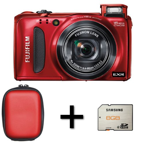 Fujifilm FinePix F660EXR Digital Camera - Red + Case and 8GB Memory Card (16MP EXR-CMOS Sensor, 15x Optical Zoom) 3 inch LCD Screen