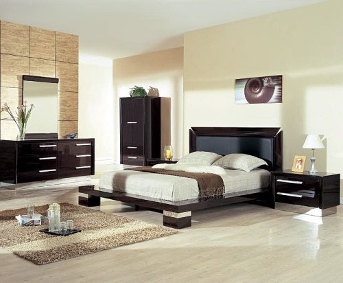 Contemporary Dark Wenge King Size Bedroom Set: 2 Night Stands, Dresser and Mirror