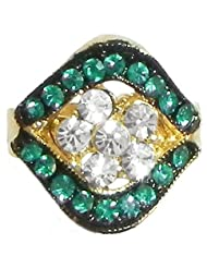 Cyan And White Stone Studded Adjustable Ring - Stone And Metal