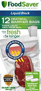 FoodSaver FSFSBFLB216-000 Liquid Block Heat Seal 1-Quart Bags, 12-Count at Sears.com