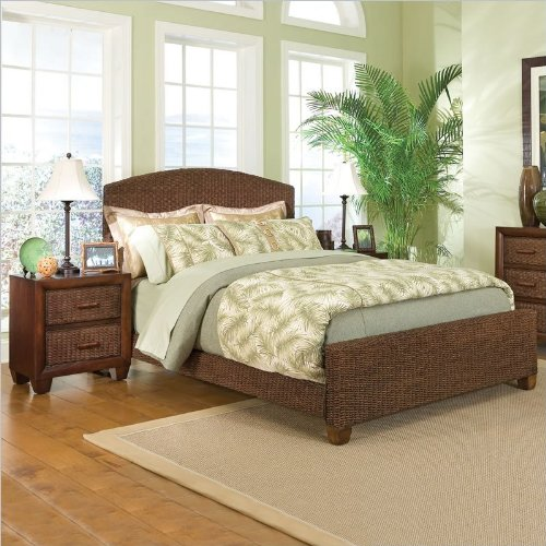 Home Styles Cabana Banana Queen Natural Woven Bed 2 Piece Bedroom Set in Cocoa Finish