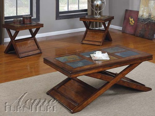 Details for Acme 80166 3-Piece Benicia Coffee/End Table Set, Dark Oak and Slate Finish by ACME Furniture