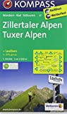 Zillertaler Alpen - Tuxer Alpen: Wanderkarte mit KOMPASS-Lexikon Radwegen und Skitouren. GPS-genau. 1:50000