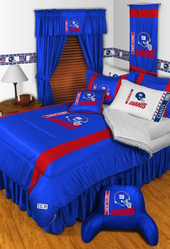 New York Giants NFL 8 Pc FULL Size Comforter Set (Comforter, 1 Flat Sheet, 1 Fitted Sheet, 2 Pillow Cases, 2 Shams, 1 Bedskirt) AND Matching Shower Curtain - DECORATE YOUR BEDROOM AND BATHROOM! at Amazon.com