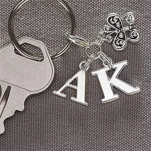 Monogram Silver Charm Initial Keychain front-993889