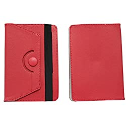 Brain Freezer Rotating With Button 7 Inch Flip Flap Case Cover Pouch Carry For Intex Ibuddy 7.2 Case Red