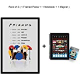 "Mc Sid Razz Official ""Friends -Tv Series"" Gift Set - Combo Pack Of 3,Umbrella Poster With Frame + Quotes Notebook + Cafe Fridge Magnet With Bottle Opener , Licensed By Warner Bros, USA"