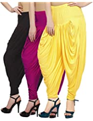 Fashion And Freedom Women's Pack Of 3 Black, Magenta And Yellow Viscose Dhoti